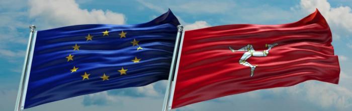 IOM and EU flags