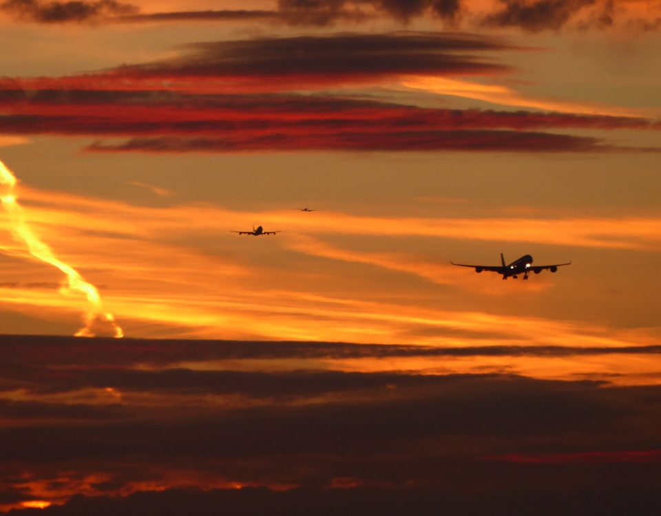 Red sky with planes